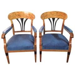 2 Original Biedermeier Armchairs flamed Birch