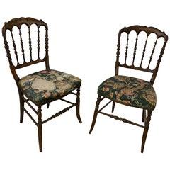 2 Original Chiarivari Napoleon III Ebonized Chairs, France, 1850s