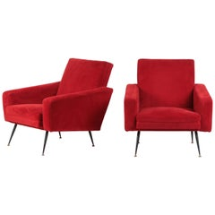 2 Original Italian Plush Lounge Chairs, 1950s