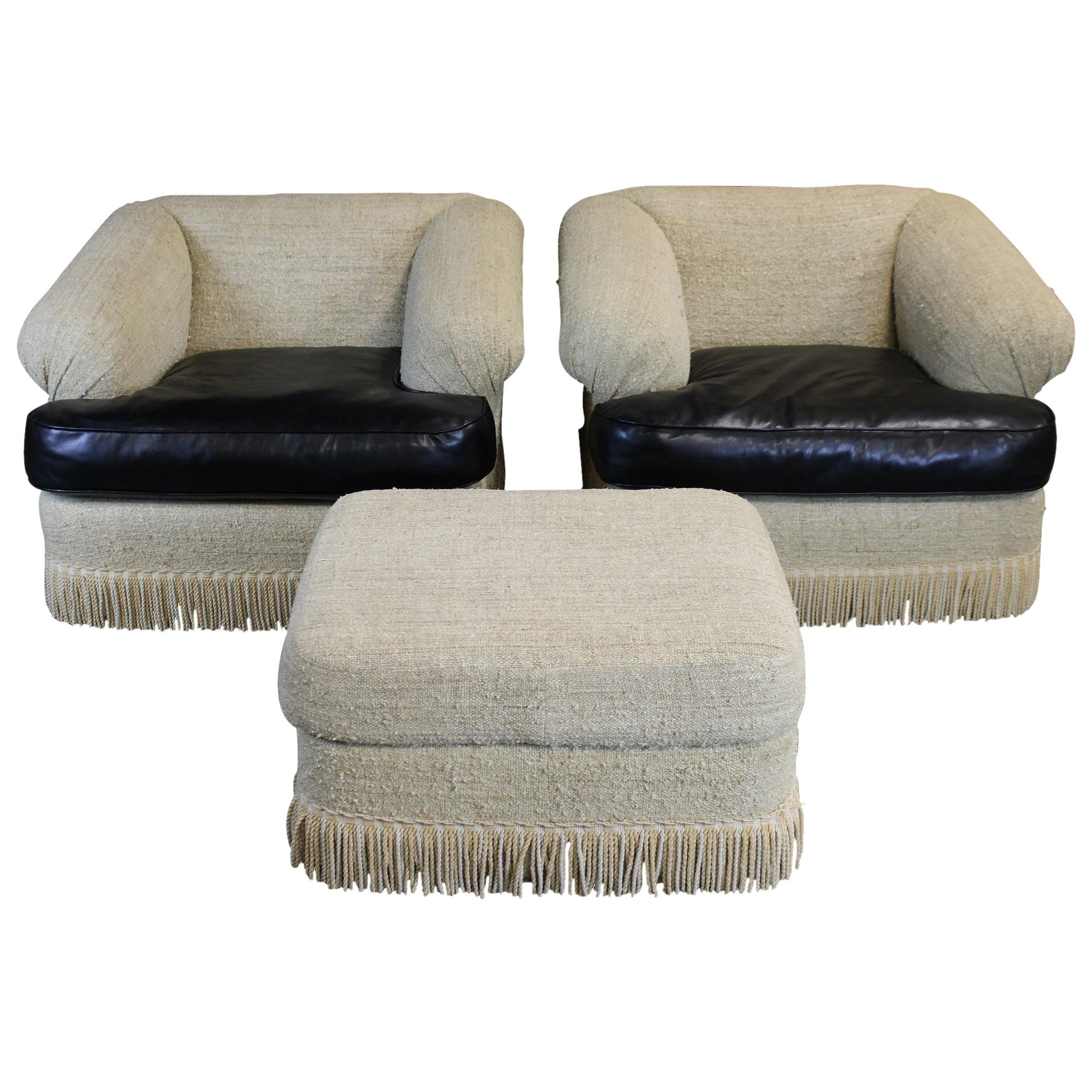 2 Original Kreiss Collection Modern Nubby Linen Fabric Club Arm Library Chairs