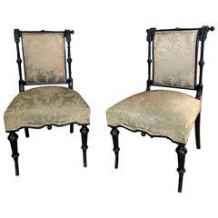 2 Original Napoleon III Ebonized Chairs, France, 1850s