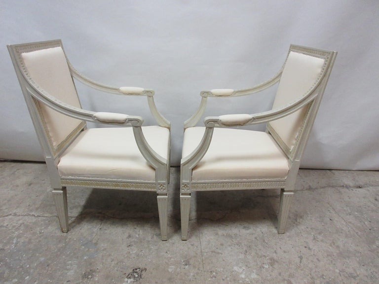 2 original paint Swedish Gustavian armchairs. They have been restored and repainted with milk paints