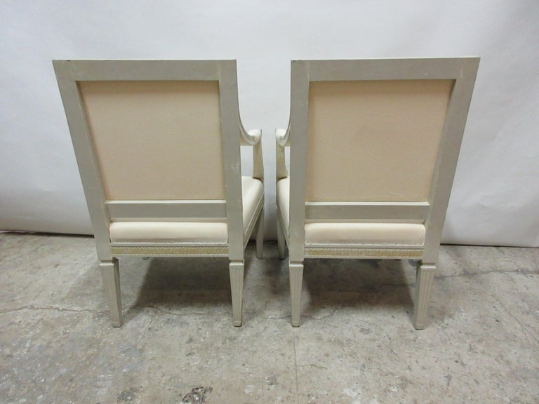 2 Original Paint Swedish Gustavian Armchairs In Distressed Condition For Sale In Hollywood, FL