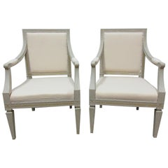 2 Original Paint Swedish Gustavian Armchairs