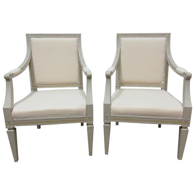 2 Original Paint Swedish Gustavian Armchairs For Sale