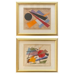 2 Oscar Troneck Constructivism Paintings