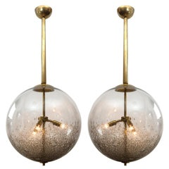 2 Oversized Italian Mottled Glass Pendants