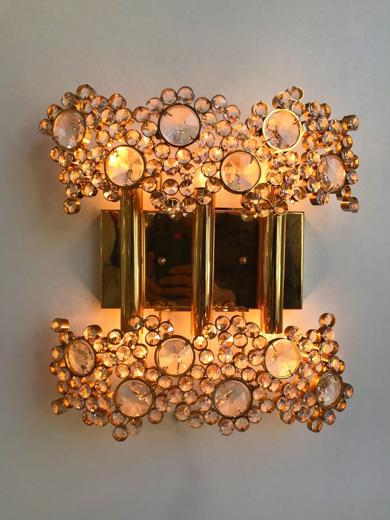 Hollywood Regency 2 Pair of Brass and Crystal Glass Sconces by Palwa, Germany, 1970s