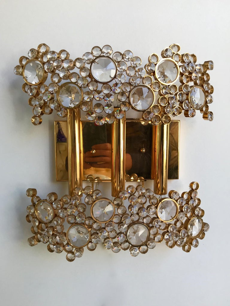 2 Pair of Brass and Crystal Glass Sconces by Palwa, Germany, 1970s In Good Condition In SAINT-OUEN, FR