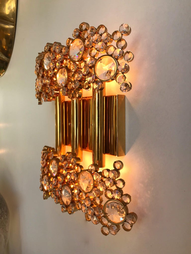 Late 20th Century 2 Pair of Brass and Crystal Glass Sconces by Palwa, Germany, 1970s