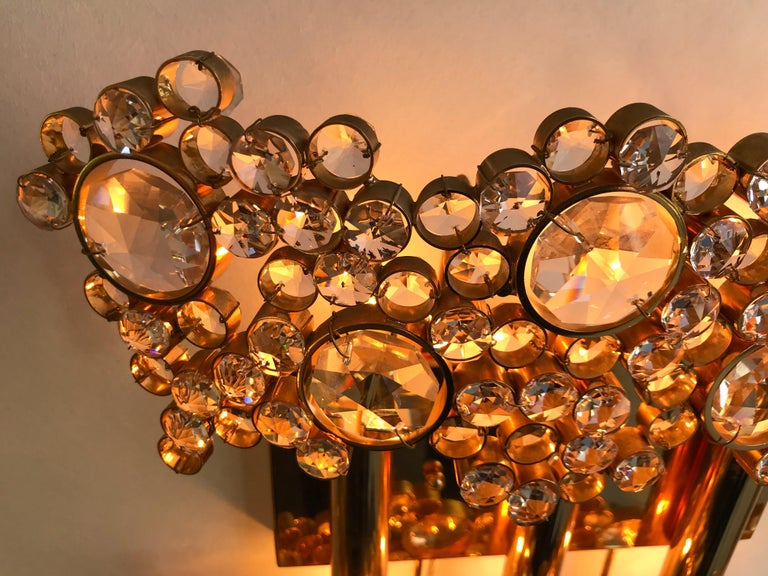 2 Pair of Brass and Crystal Glass Sconces by Palwa, Germany, 1970s 4