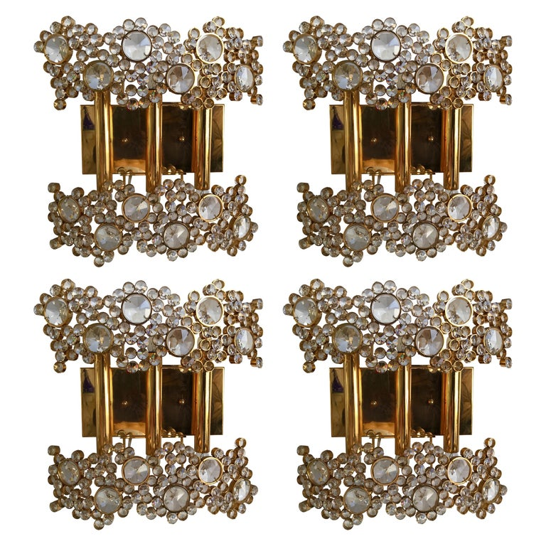2 Pair of Brass and Crystal Glass Sconces by Palwa, Germany, 1970s