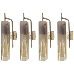 Pair of Sconces Acid Decor Glass and Silver Brass by Poliarte, Italy, 1970s