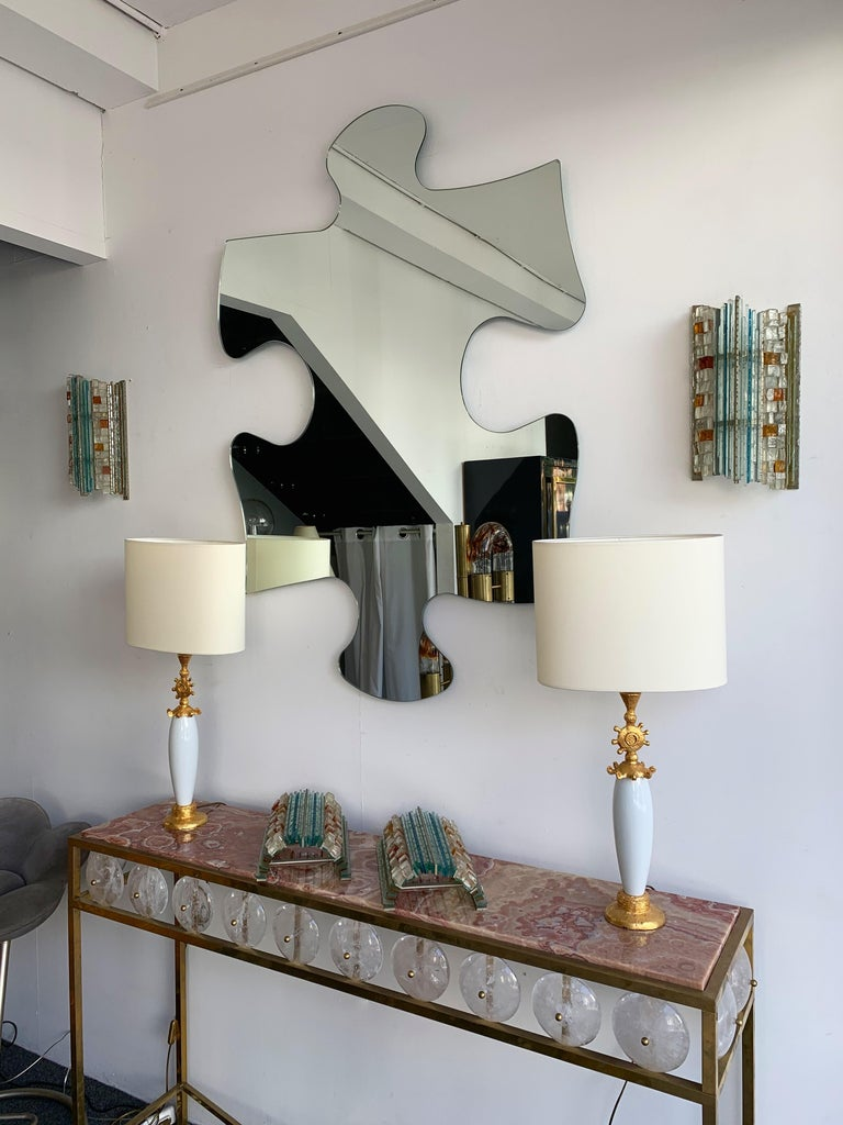 Pair of Sconces Hammered Glass by Biancardi & Jordan Arte, Italy, 1970s 4
