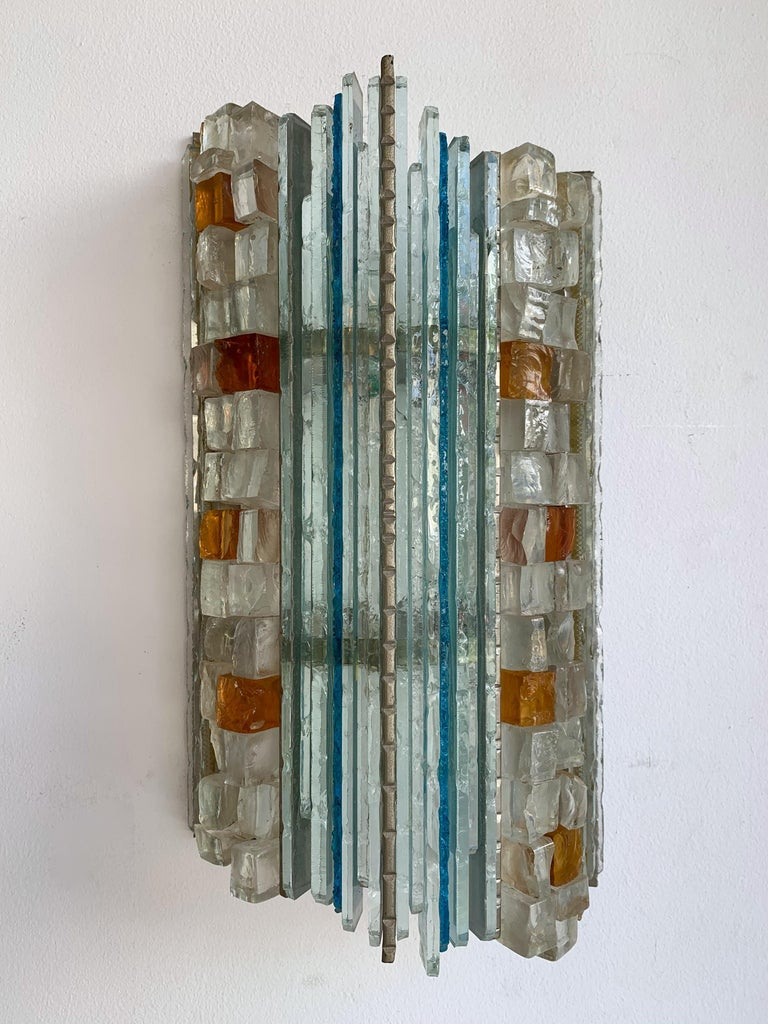 Mid-Century Modern Pair of Sconces Hammered Glass by Biancardi & Jordan Arte, Italy, 1970s