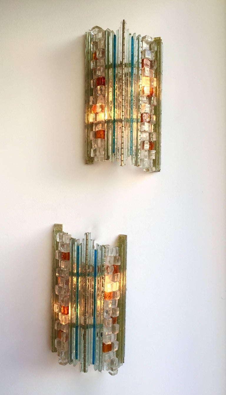 Italian Pair of Sconces Hammered Glass by Biancardi & Jordan Arte, Italy, 1970s