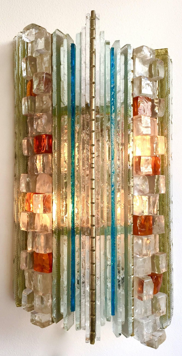 Pair of Sconces Hammered Glass by Biancardi & Jordan Arte, Italy, 1970s 2