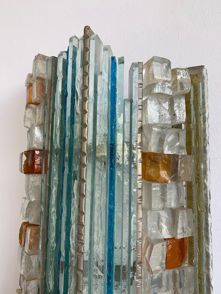 Pair of Sconces Hammered Glass by Biancardi & Jordan Arte, Italy, 1970s 3