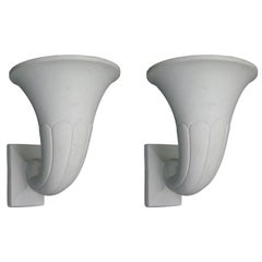 2 Pairs French Art Deco / Modern Neoclassical Plaster Horn Sconces, André Arbus