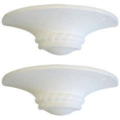 2 Pairs of Mid-Century Modern Neoclassical Plaster Sconces Attributed to Arlus