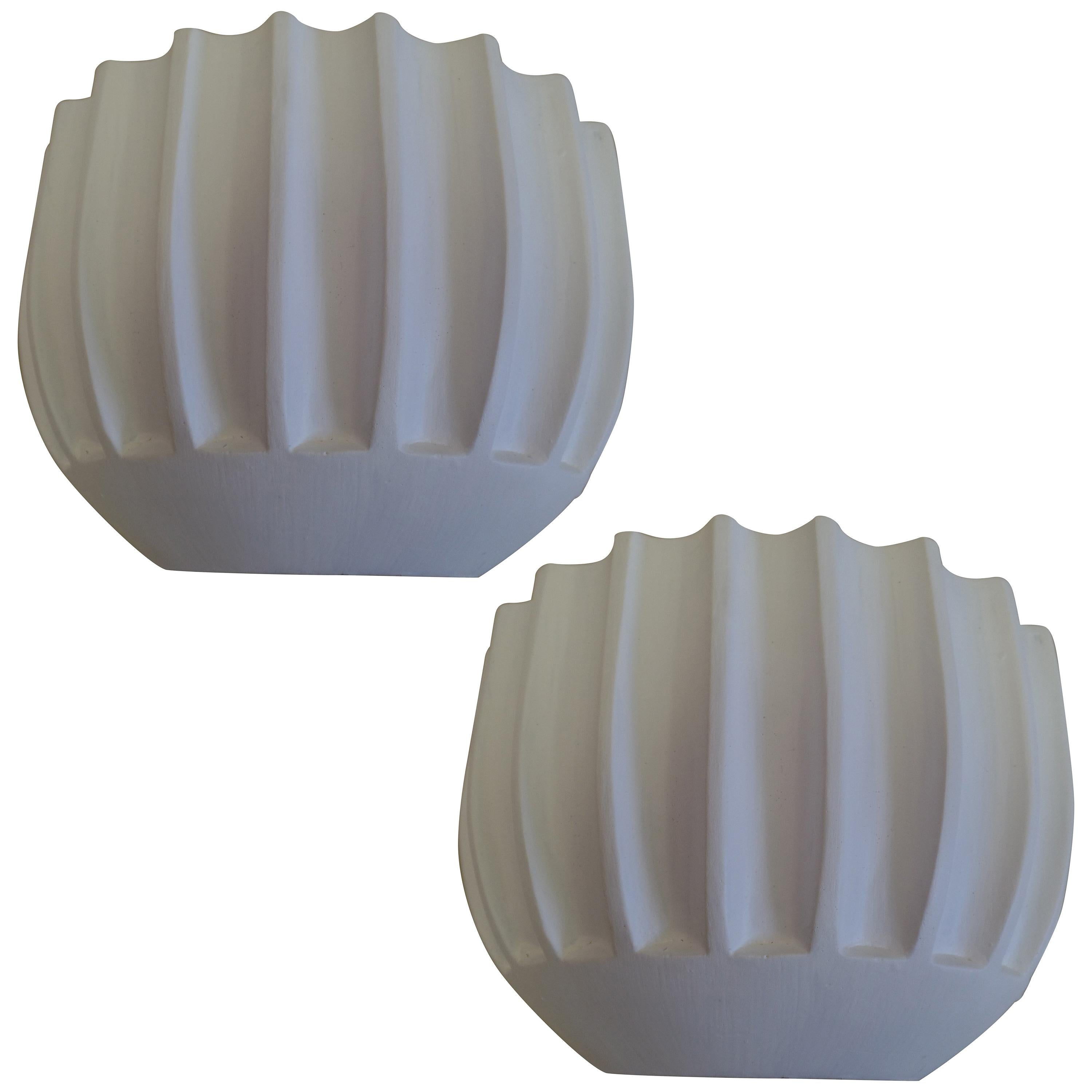 2 Pairs of French Art Deco / Mid-Century Modern Plaster Wall Sconces