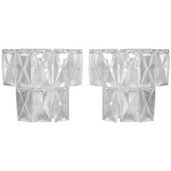 2 Pairs of French Mid-Century Modern Lead Crystal Sconces Attributed to Baccarat