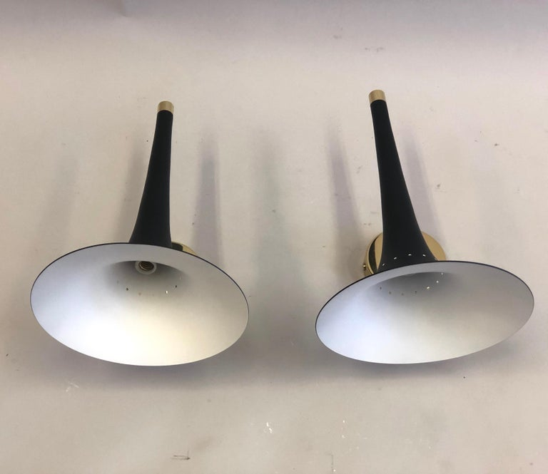 2 Pairs of Italian Mid-Century Modern Sconces Attributed to Stilnovo For Sale 5