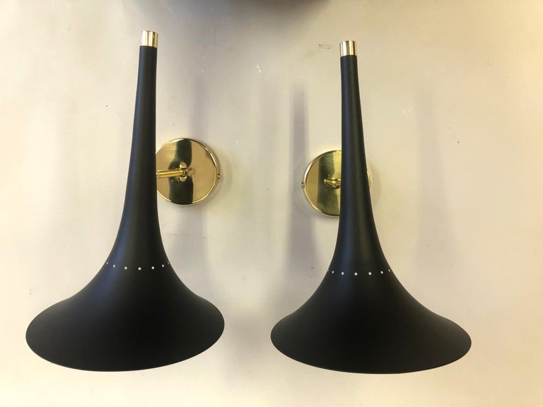 Enameled 2 Pairs of Italian Mid-Century Modern Sconces Attributed to Stilnovo For Sale