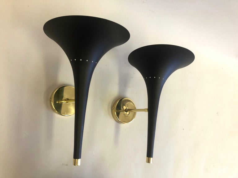 Brass 2 Pairs of Italian Mid-Century Modern Sconces Attributed to Stilnovo For Sale
