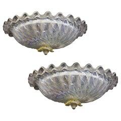 2 Pairs of Italian  Murano Glass Ceiling Lights