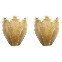 2 Pairs of Large Gold Granilia Murano Glass Mid-Century Modern Sconces, Barovier