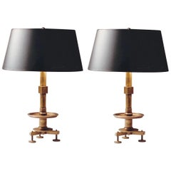 2 Pairs of Modern Neoclassical Brass and Steel Industrial Style Table Lamps