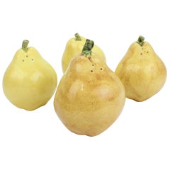 2 Pairs of Pear Shaped Yellow Pottery Salt and Pepper Shakers