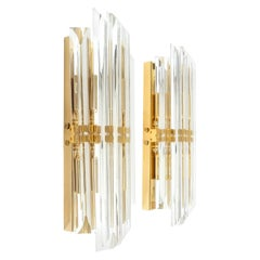 2 Pairs of Venini Style Italian Murano Glass and Gold Brass Sconces