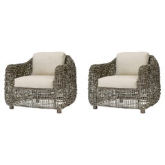 2 Palecek Seacliff Club Lounge Chairs Rattan Modern Boho Chic Pair 7085-89