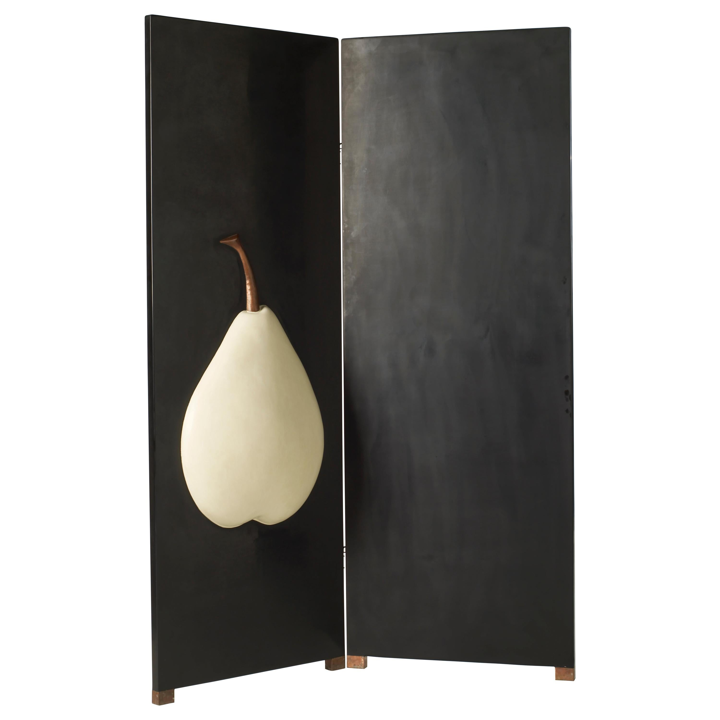 2-Panel Black Lacquer Screen with Cream Pear by Robert Kuo, Handmade, Limited