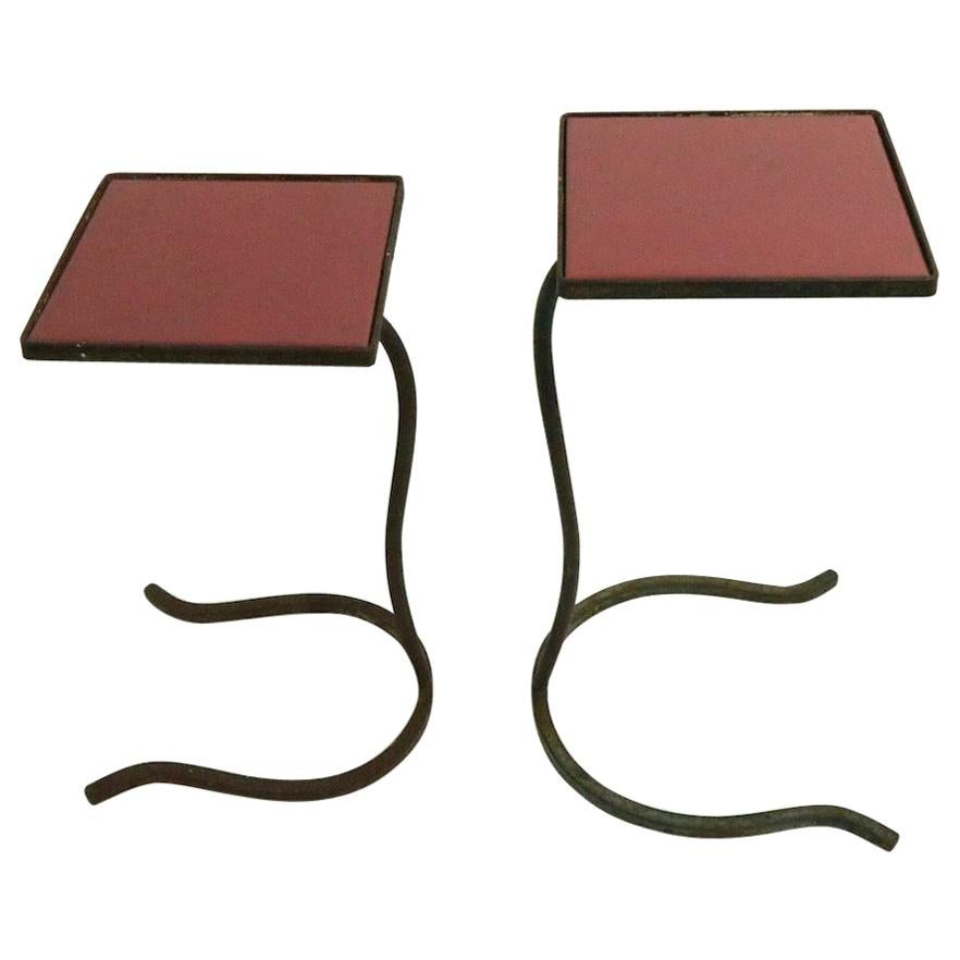 2 Piece Nesting Drink Stand Tables with Wrought Iron Base and Tile Top