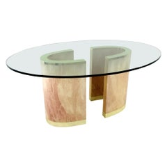 2-Piece Pedestal Dining Table with Brass Plinth and Glass Top