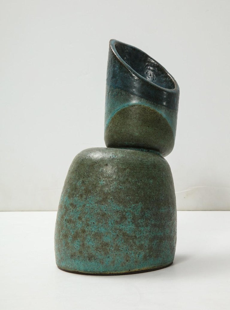 Glazed 2-Piece Sculpture #1 by David Haskell For Sale