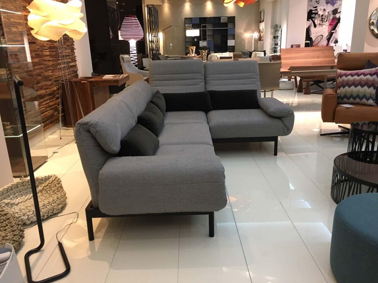 Groovy 2 Piece Sectional Sofa In Grey Fabric Black Steel Frame With Recline Function Alphanode Cool Chair Designs And Ideas Alphanodeonline