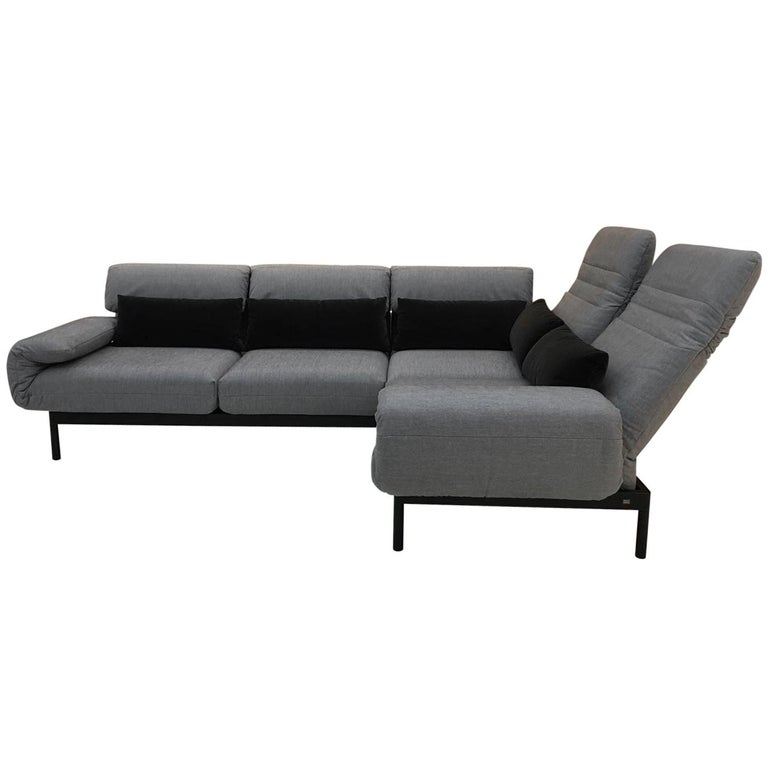 Tremendous 2 Piece Sectional Sofa In Grey Fabric Black Steel Frame With Recline Function Alphanode Cool Chair Designs And Ideas Alphanodeonline