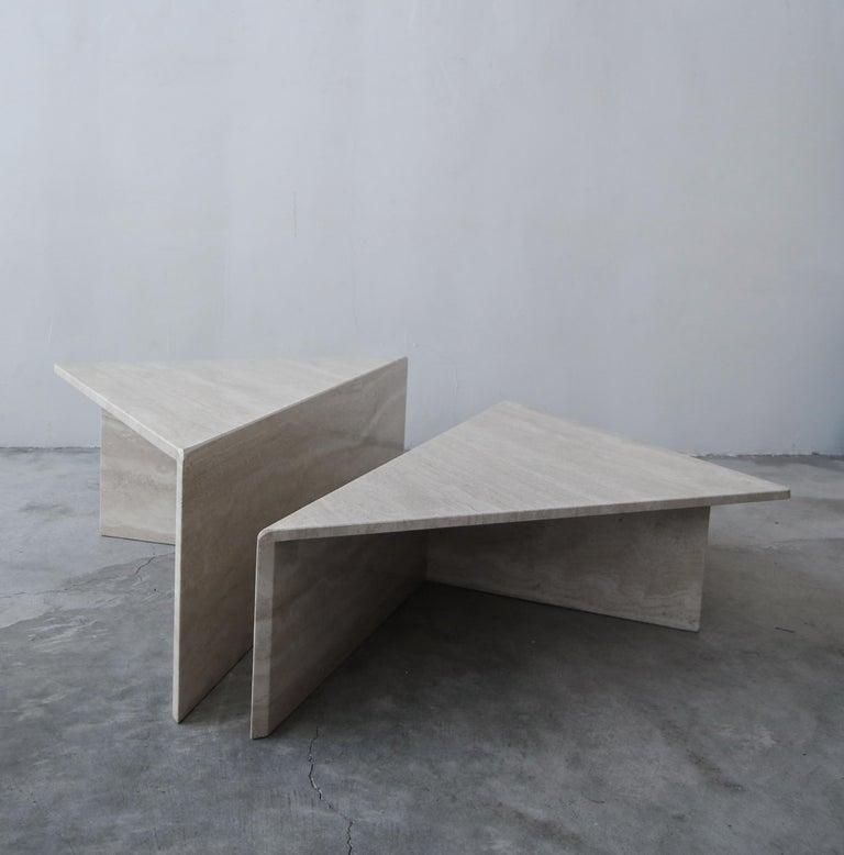 Minimalist 2-Piece Tiered Postmodern Italian Travertine Coffee Table For Sale
