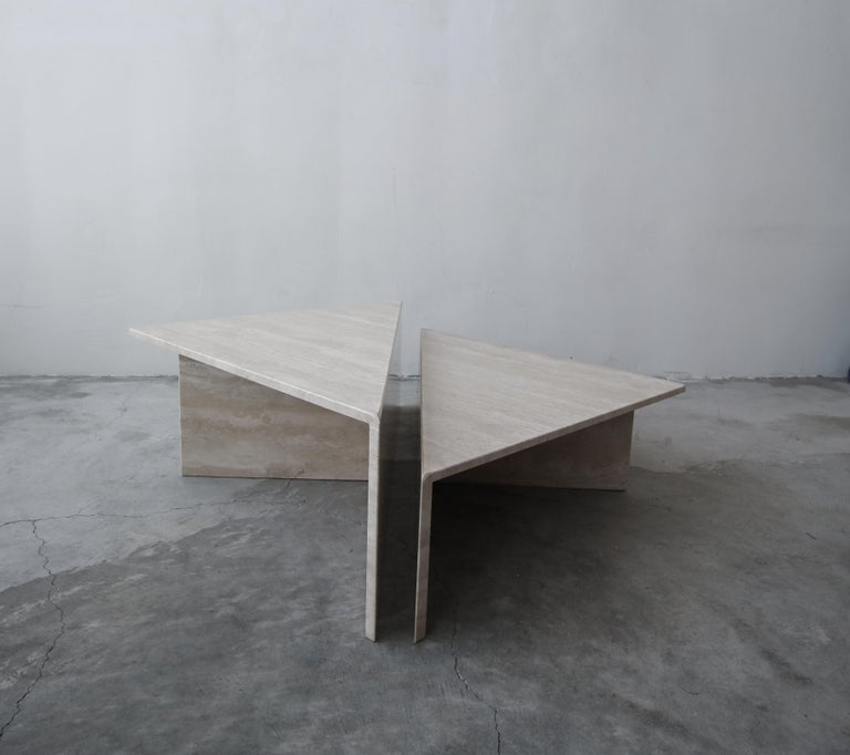 2-Piece Tiered Postmodern Italian Travertine Coffee Table In Good Condition For Sale In Las Vegas, NV