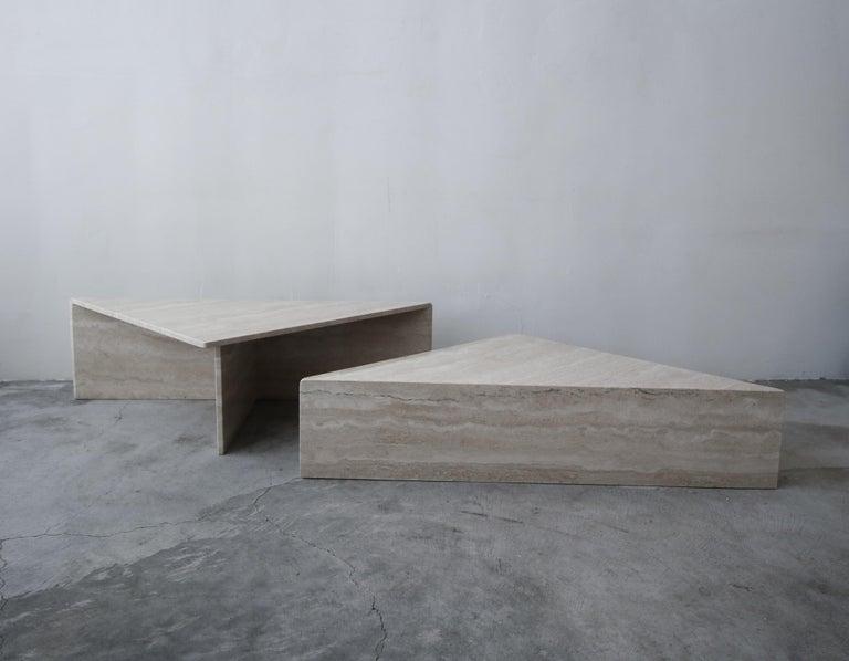 20th Century 2-Piece Tiered Postmodern Italian Travertine Coffee Table For Sale
