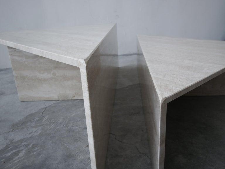 2-Piece Tiered Postmodern Italian Travertine Coffee Table For Sale 2