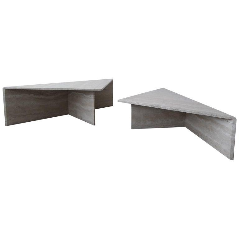 2-Piece Tiered Postmodern Italian Travertine Coffee Table For Sale