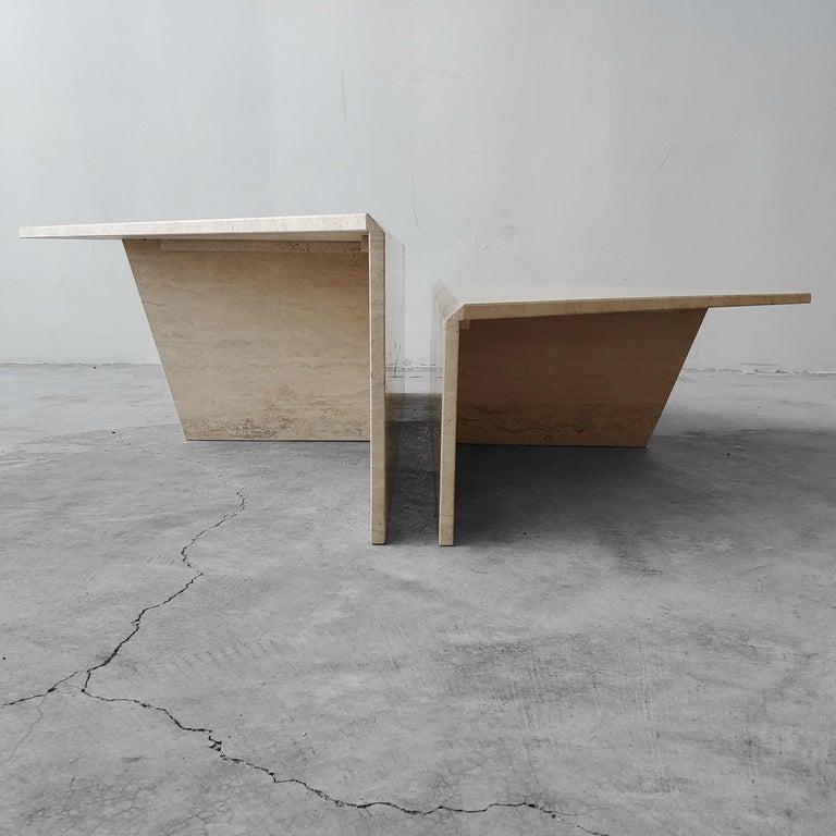Minimalist 2-Piece Tiered Triangle Postmodern Italian Travertine Coffee Table For Sale