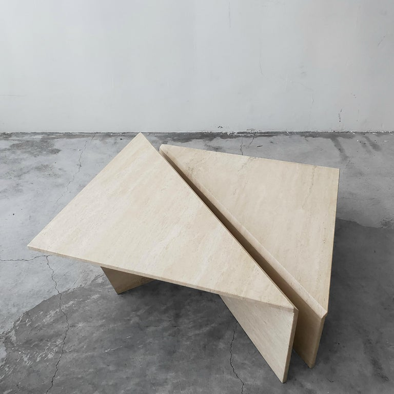2-Piece Tiered Triangle Postmodern Italian Travertine Coffee Table In Good Condition For Sale In Las Vegas, NV