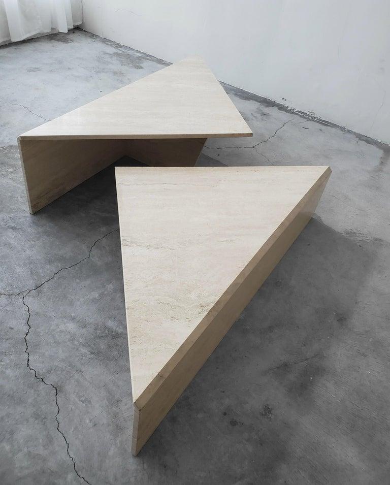 20th Century 2-Piece Tiered Triangle Postmodern Italian Travertine Coffee Table For Sale
