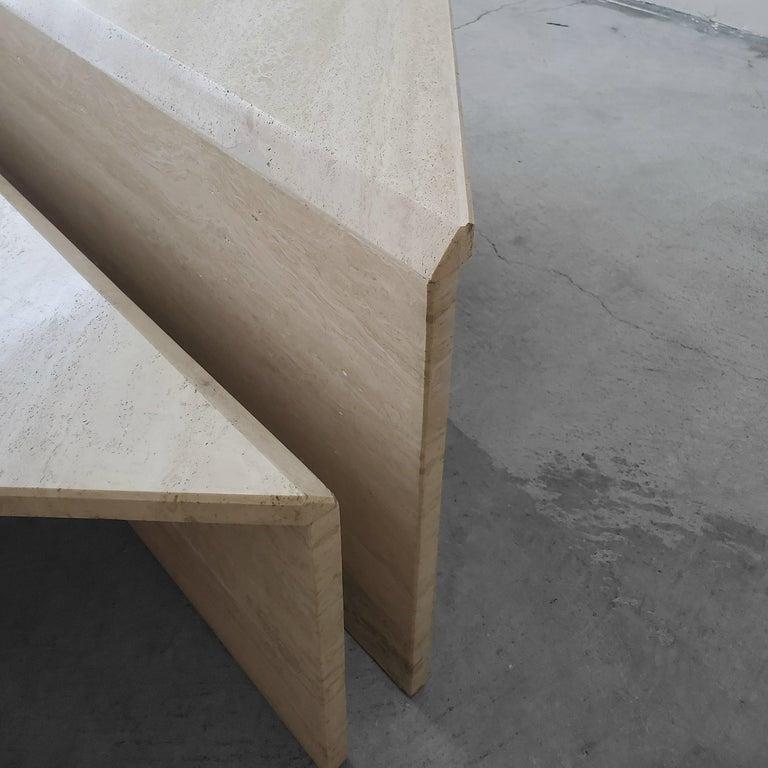 2-Piece Tiered Triangle Postmodern Italian Travertine Coffee Table For Sale 2
